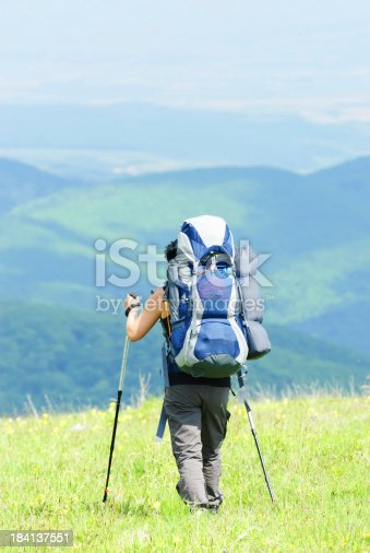 istock rear view of female backpacker 184137551