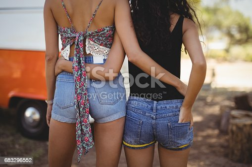 Rear view of female friends standing by van on field