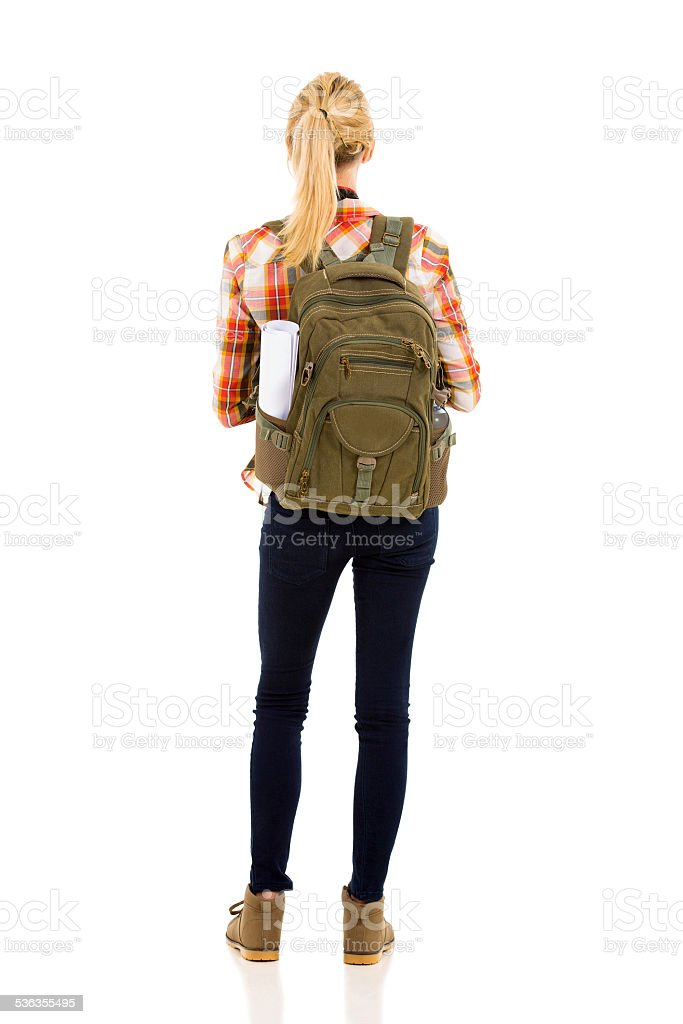 rear view of female hiker stock photo