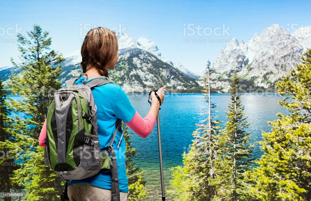 Rear  view of female hiker pointing at nature stock photo