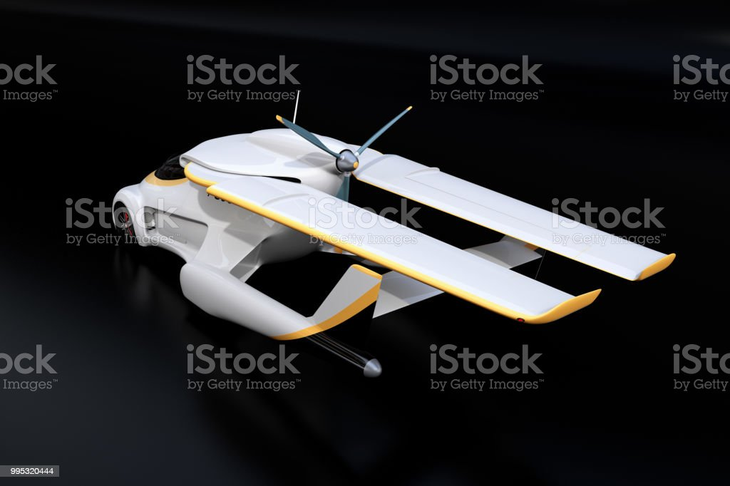 Rear view of futuristic autonomous car on black background stock photo