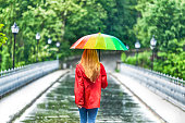 Rear view of girl with umbrella