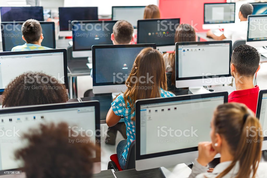 Rear view of group of people in a computer seminar. stock photo