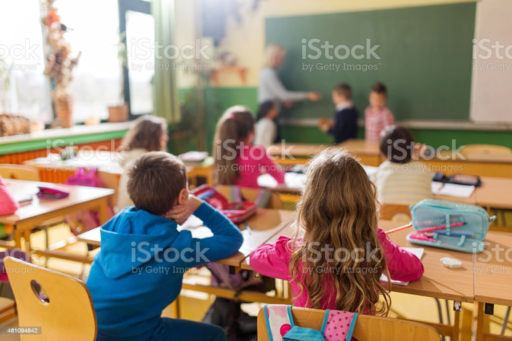 Rear view of group of school children attending a class. stock photo