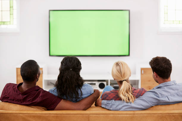 Rear View Of Group Of Young Friends Watching Television Together stock photo