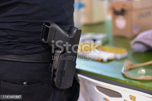 Rear view of gunfire Gun shooting competition