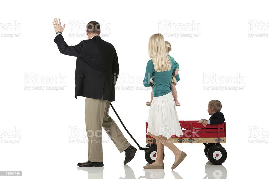 Rear view of happy family royalty-free stock photo
