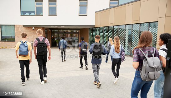 Rear View Of High School Students Walking Into College Building Together