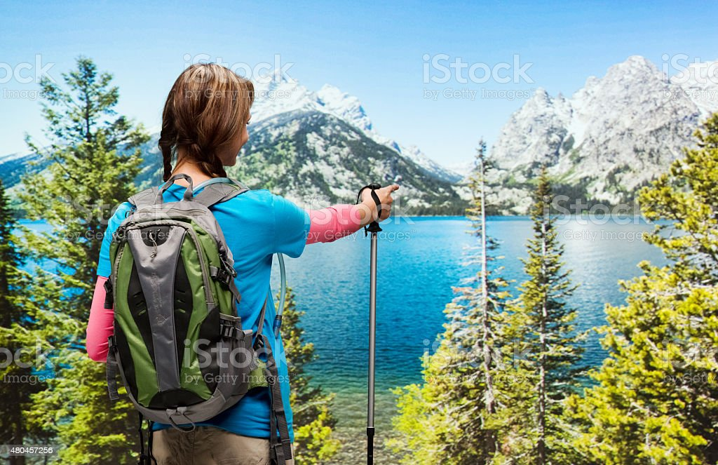 Rear view of hiker in the wilderness stock photo