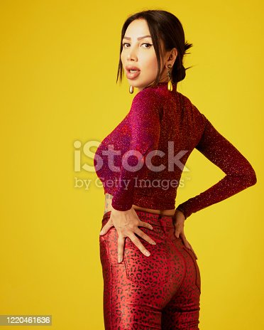 Rear view of lady in red. Yellow background.