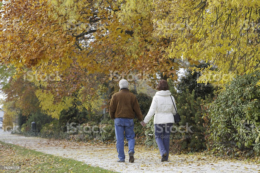 Rear view of loving senior couple under trees in autumn royalty-free stock photo