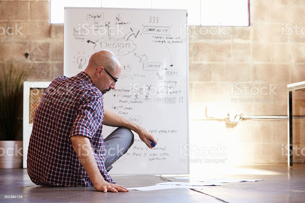 Rear View Of Male Designer Drawing Flow Chart stock photo