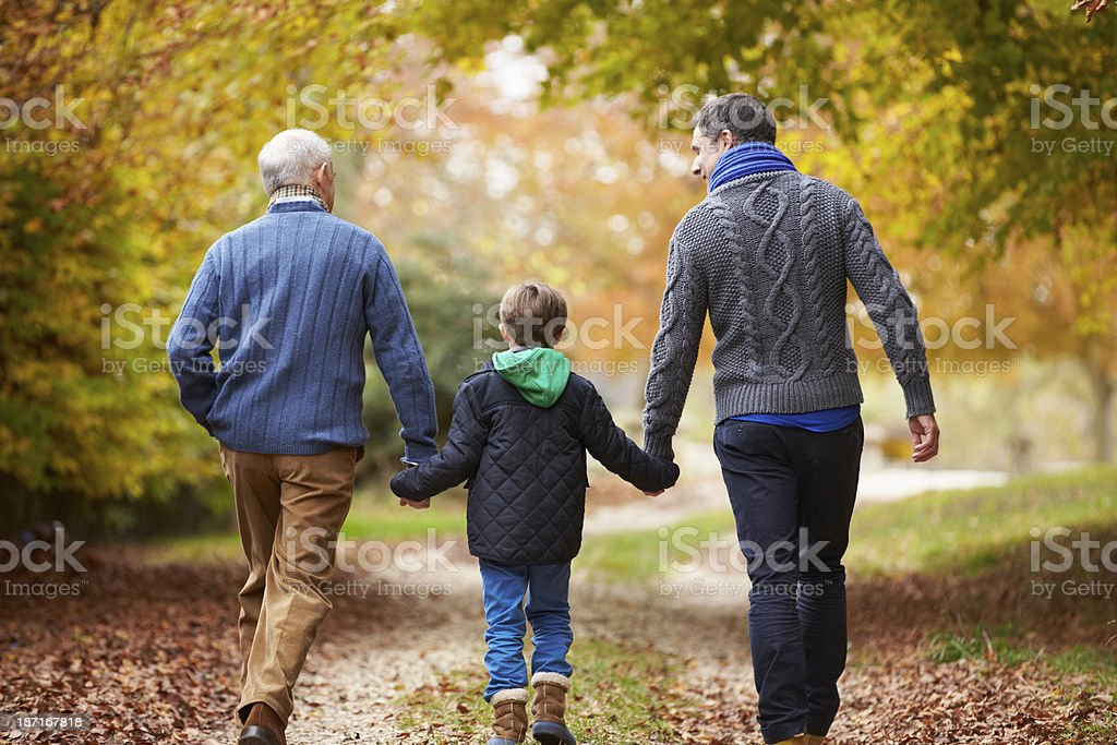 Rear View Of Male Multl Generation Family Walking On Path stock photo