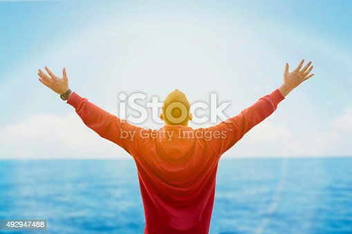 istock Rear view of man spreading arms and watching the ocean 492947488