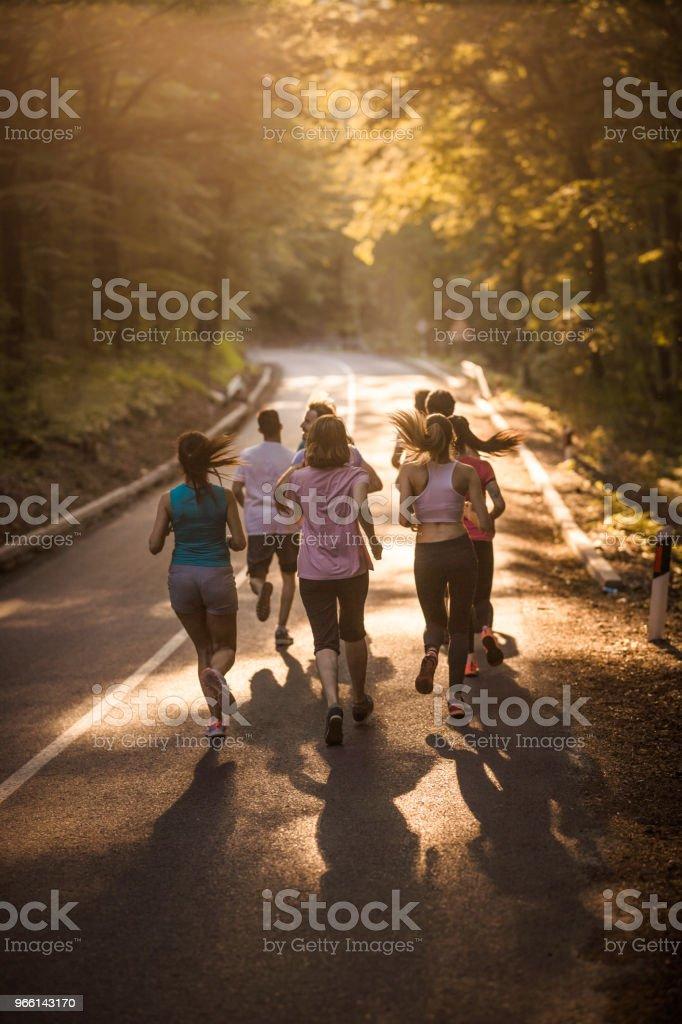 Rear view of marathon runners having a race in nature. - Foto stock royalty-free di Abbigliamento sportivo