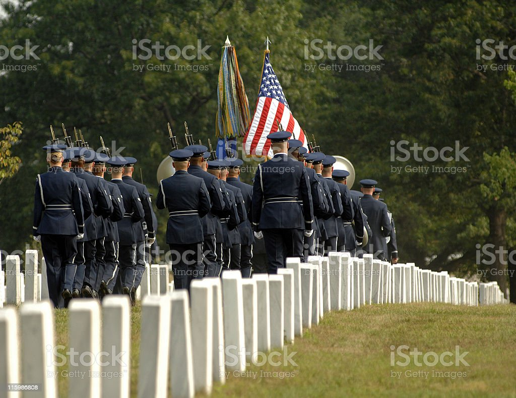 Rear view of military formation at Arlington funeral stock photo