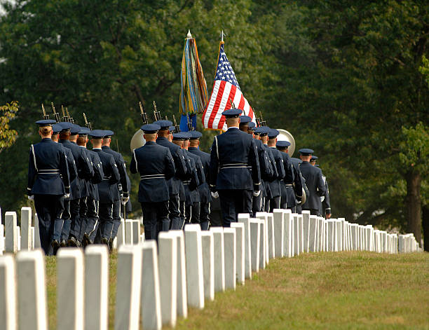rear view of military formation at arlington funeral - arlington national cemetery stock pictures, royalty-free photos & images