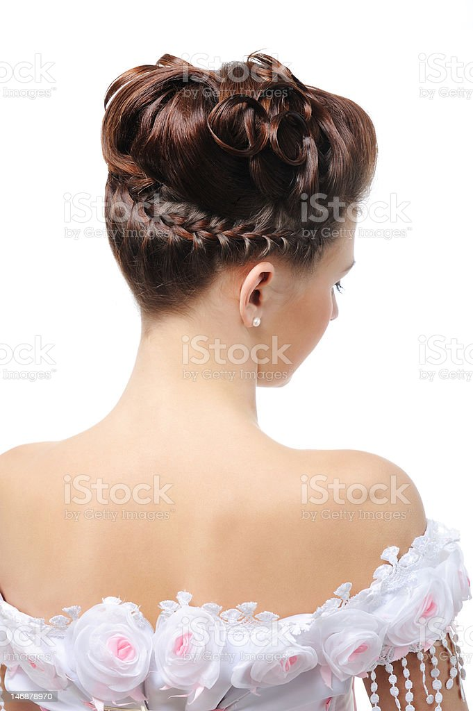 Rear view of modern wedding hairstyle royalty-free stock photo