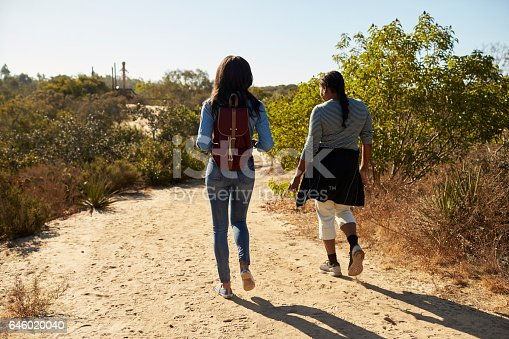 904170246 istock photo Rear View Of Mother And Adult Daughter Hiking In Countryside 646020040