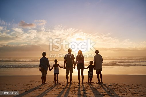 istock Rear View Of Multi Generation Family Silhouetted On Beach 939181122