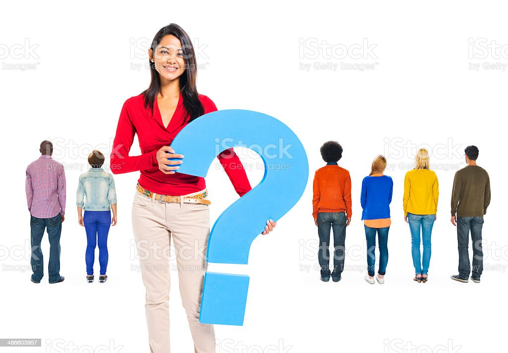 Rear View Of multi-Ethnic People with Woman Holding Quest Mark stock photo