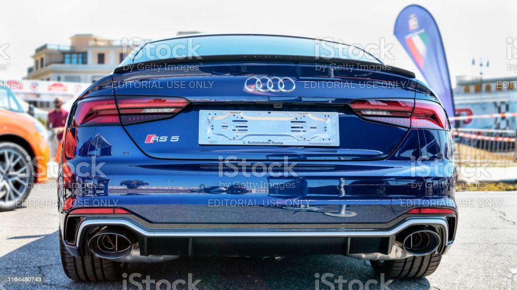 Rear View Of New Blue Supercar Model Audi Rs5 Sportback From Audi Automaker Stock Photo Download Image Now Istock