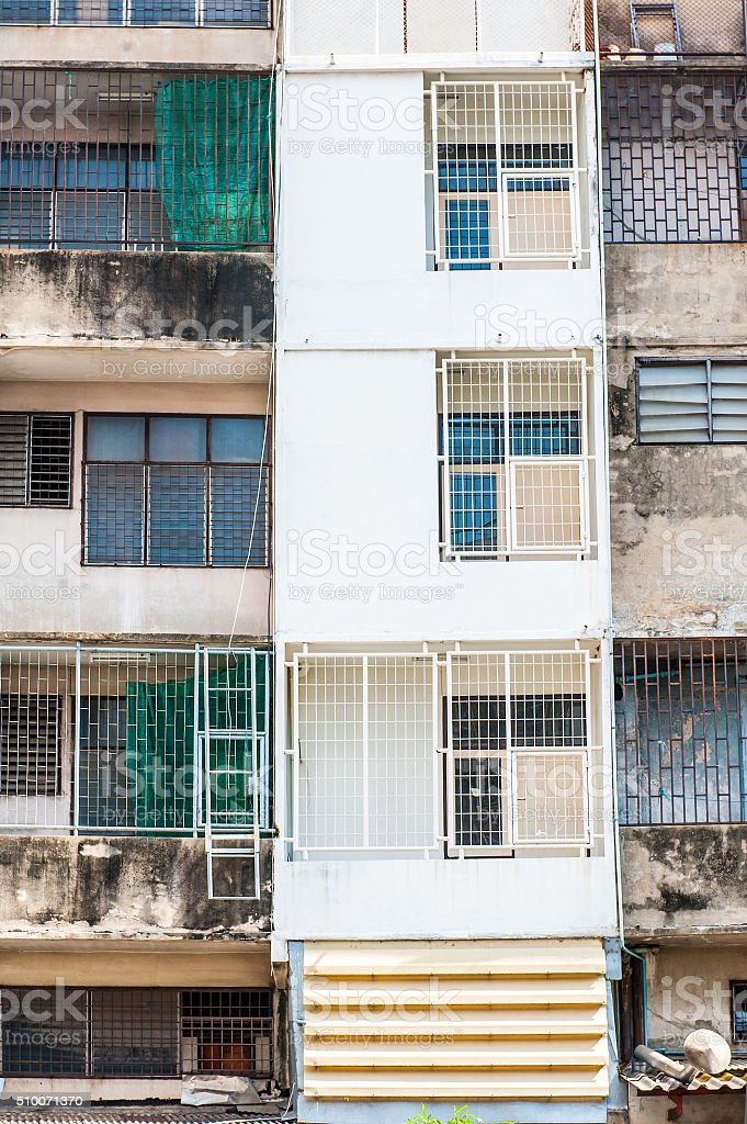 Rear view of old building . stock photo