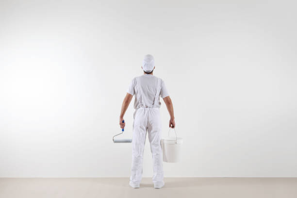 rear view of painter man looking at blank wall, with paint roller and bucket, isolated on white room - painter stock photos and pictures