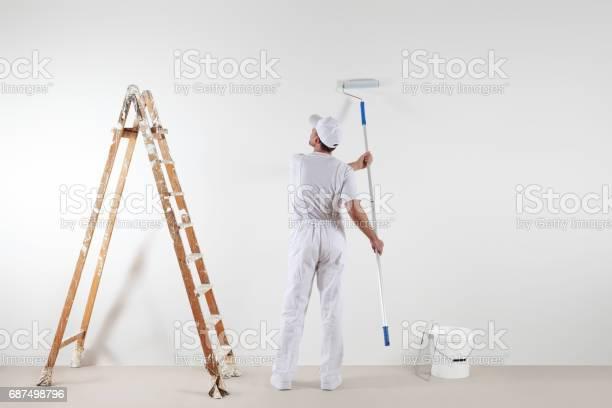 Rear view of painter man looking at blank wall with paint stick and picture id687498796?b=1&k=6&m=687498796&s=612x612&h=8zhkkboyshjcnj3e3ajzhgxj4gvkjjoffzgokjtljqa=