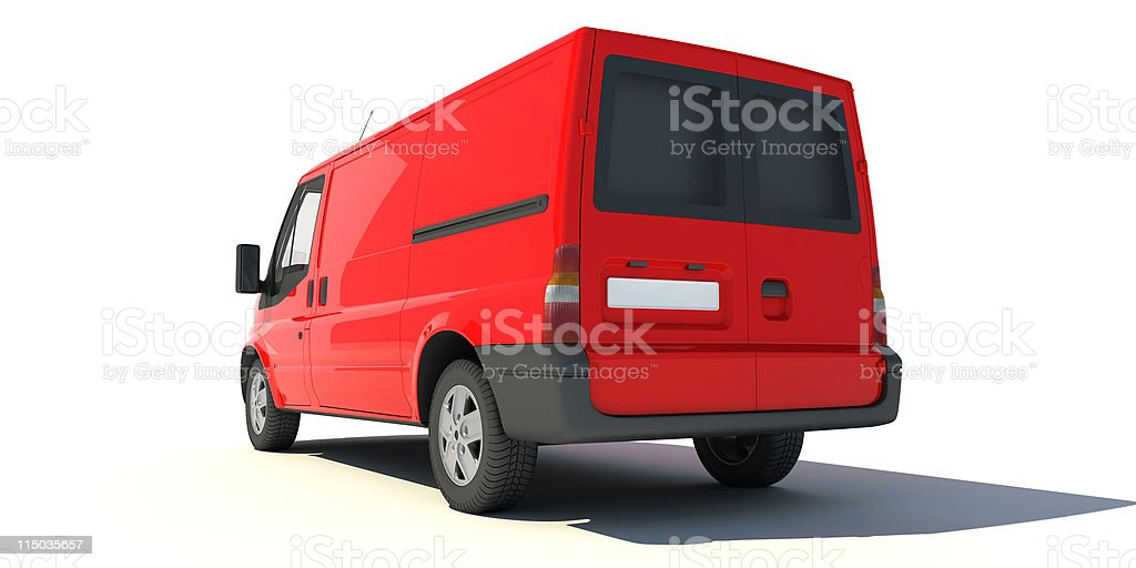 Rear view of red van royalty-free stock photo