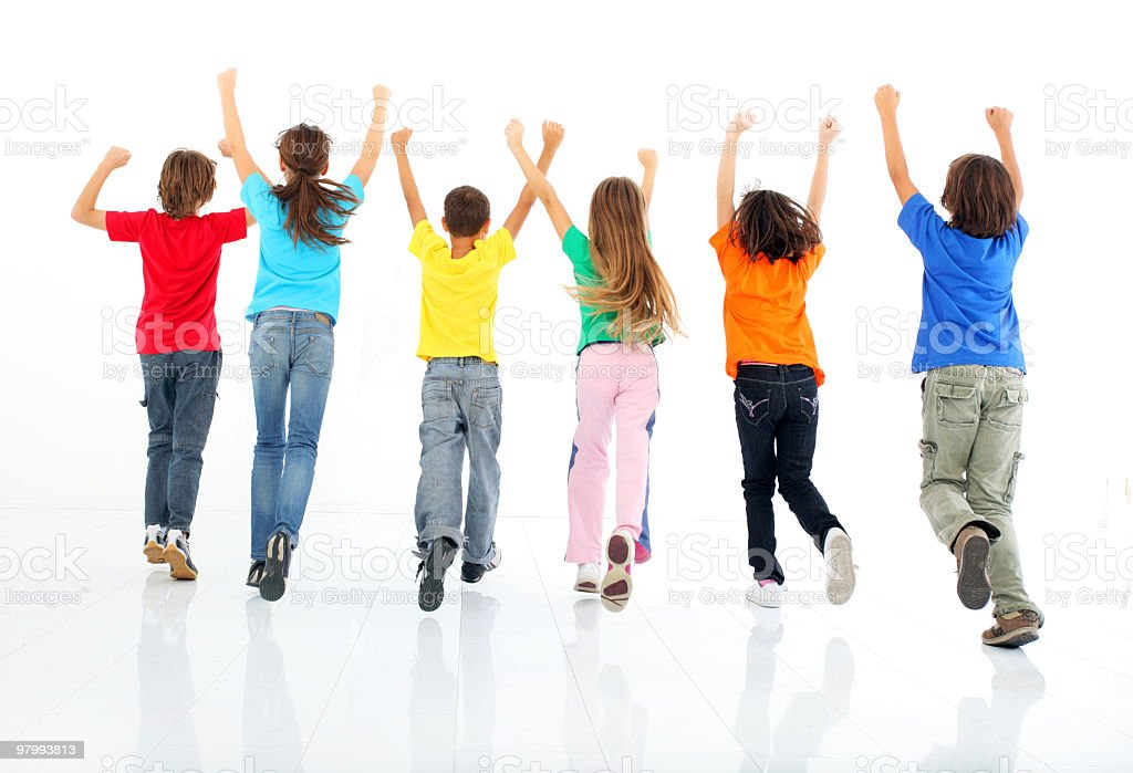 Rear view of running children. royalty-free stock photo