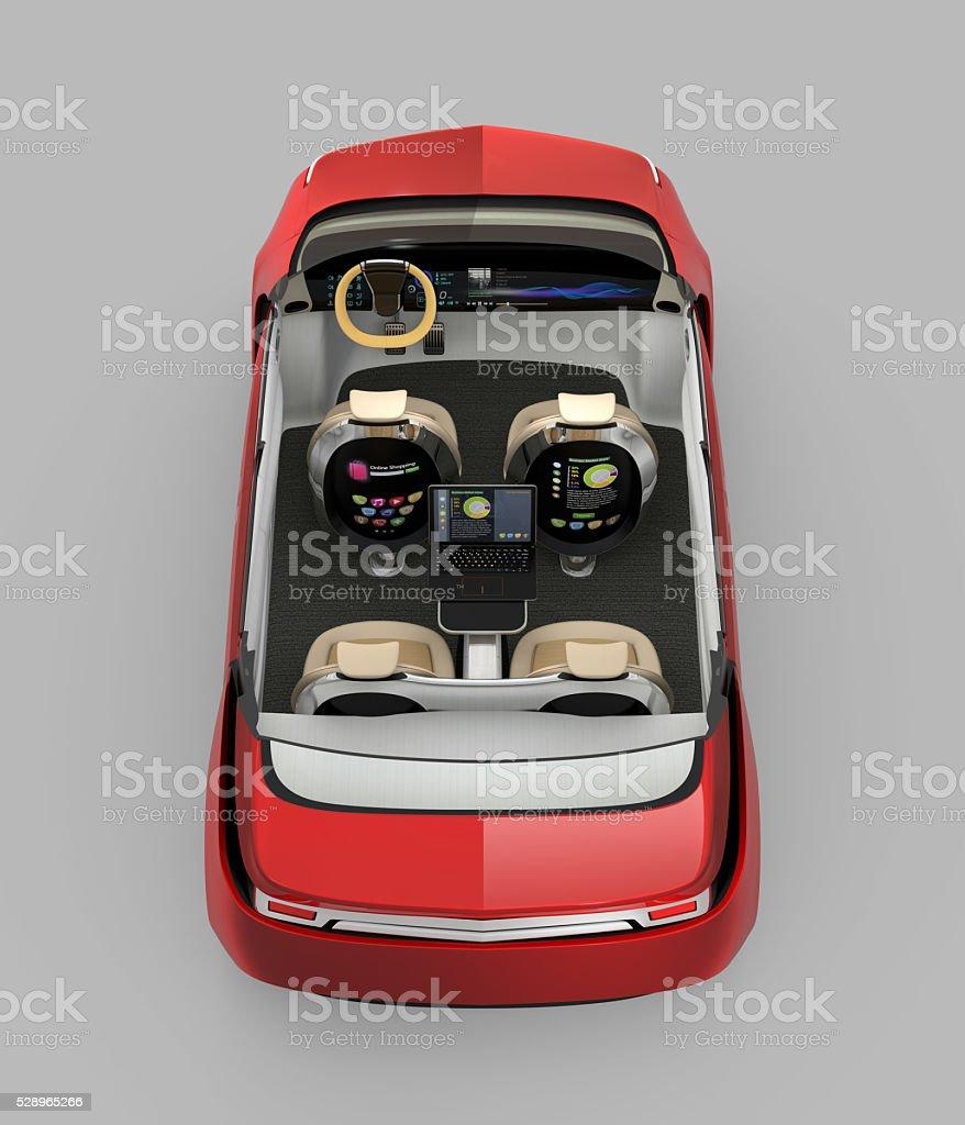 Hinterer Blick auf self-driving-cutaway-Bild – Foto