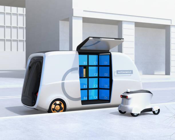 bakifrån av självkörande leverans van och drönare på gatan - delivery robot bildbanksfoton och bilder
