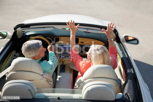 108329737istockphoto Rear view of senior couple in convertible 482532639