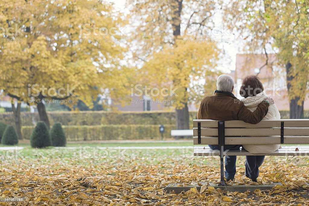 Rear view of senior couple on park bench in autumn stock photo