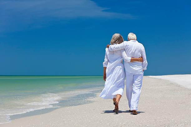 Rear view of senior couple walking on beach stock photo