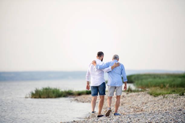 Rückansicht des älteren Vaters und des reifen Sohnes, der am See entlangläuft. Kopieren Sie den Speicherplatz. – Foto