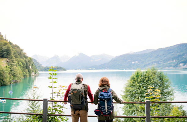 A rear view of senior pensioner couple standing by lake in nature. A rear view of senior pensioner couple standing by lake in nature. Copy space. retirement stock pictures, royalty-free photos & images