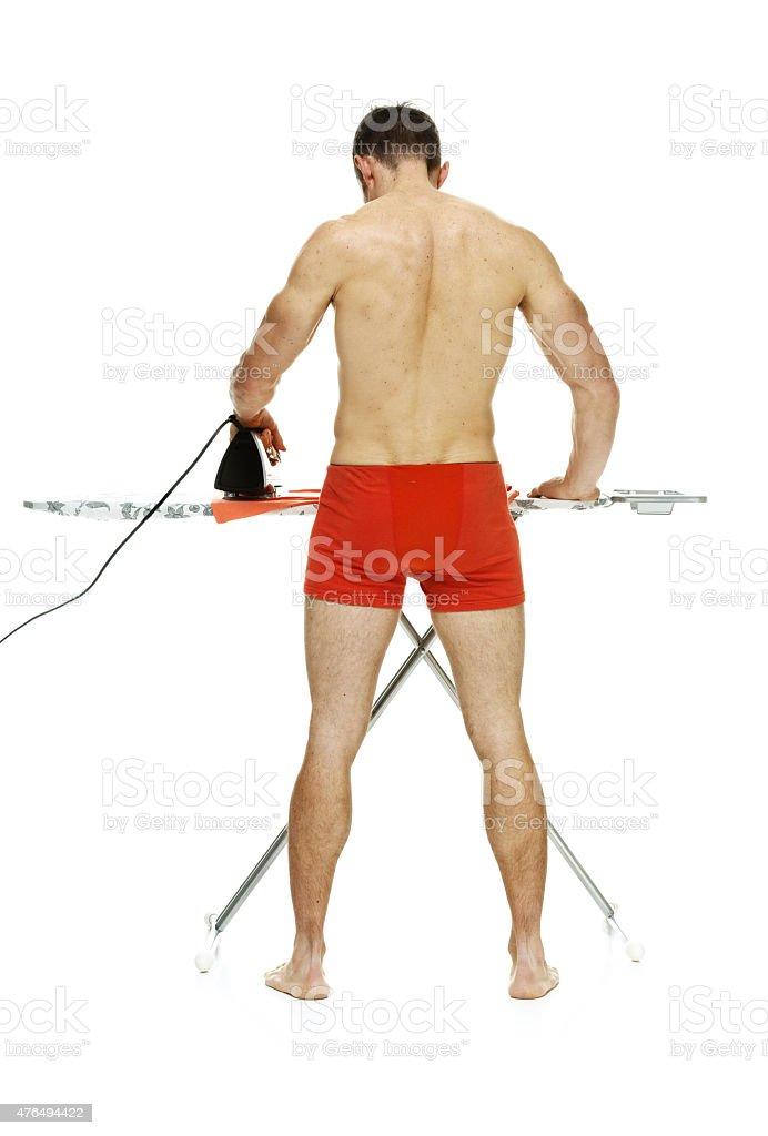 Rückansicht Des Nackter Oberkörper Mann Muskeln Und Bügelbrett ...