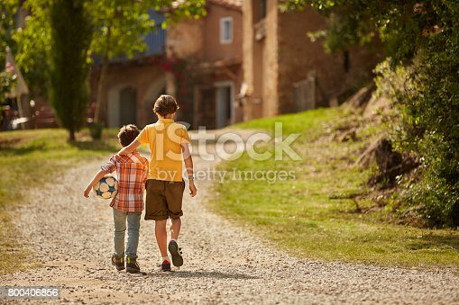 Rear view of siblings walking on pathway. Boys are having leisure time. They are in casuals on sunny day.