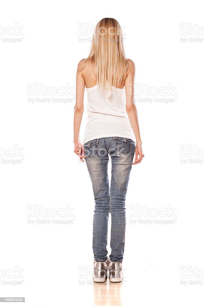 Ruckansicht Des Skinny Blonde Madchen Stehend Auf Weissem Hintergrund Stockfoto Und Mehr Bilder Von 2015 Istock
