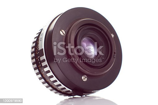 Rear view of SLR camera lens on white background
