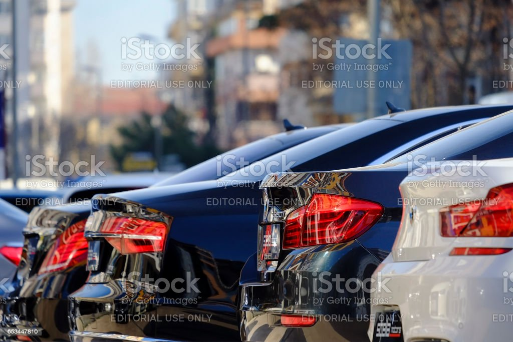 Rear View of Some New German Cars стоковое фото