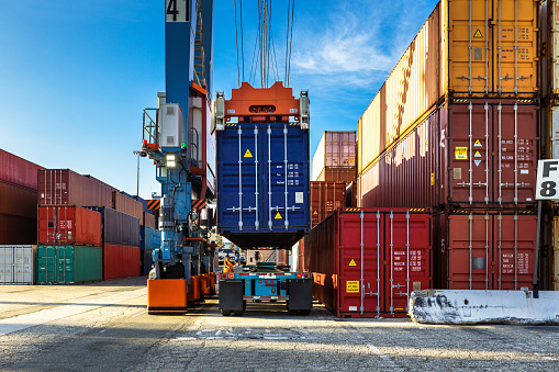 Shot of an intermodal shipping yard in the Port of Long Beach, California.