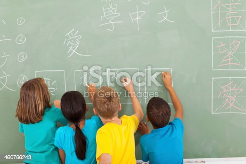 istock rear view of students learning chinese writing on chalkboard 460766243