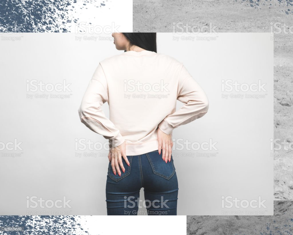 Rear View Of Stylish Woman In Blank Sweatshirt Shirt On White With ...
