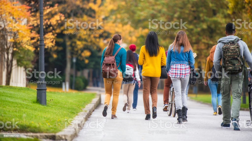 Rear view of sudents walking through the park - foto stock