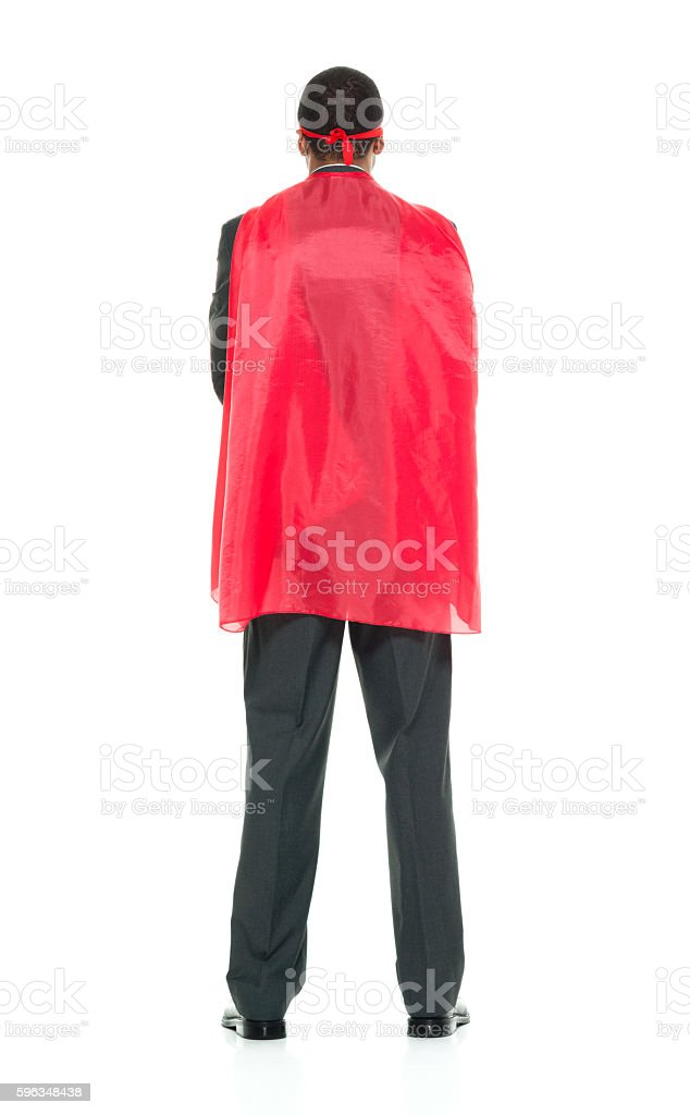 Rear view of superhero standing royalty-free stock photo