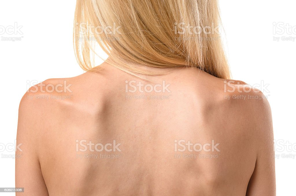 Rear view of the back of a thin woman bildbanksfoto
