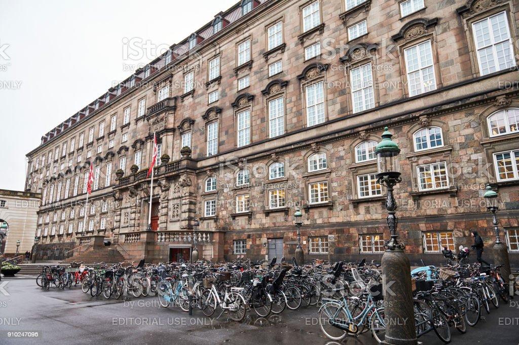 Rear view of the Danish parliament 'Folketinget' stock photo